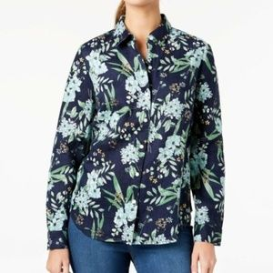 Charter Club Tops - CHARTER CLUB Linen Tab Sleeve Top Button Down Blue
